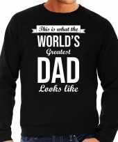 Worlds greatest dad cadeau sweater zwart heren