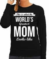 Worlds greatest mom cadeau sweater zwart dames