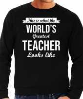 Worlds greatest teacher cadeau sweater zwart heren