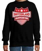 Zwitserland switzerland schild supporter sweater zwart k
